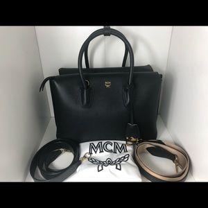 Black Leather Medium MCM Milla Top Handle Satchel